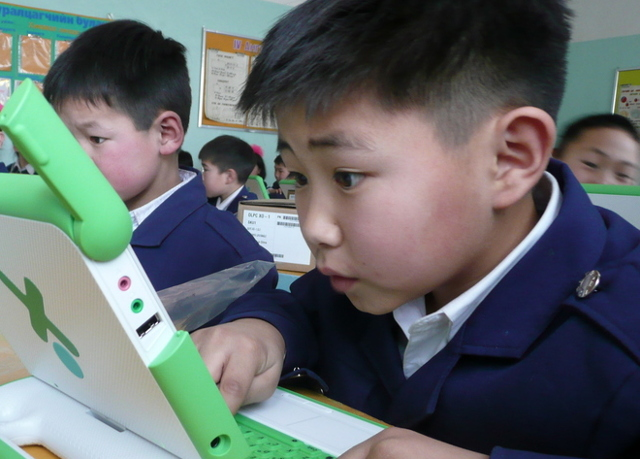 Completely focused student in Ulaanbaatar